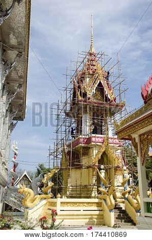 Asian Thai Worker People Renovate And Repair Restore Chedi At Wat Muang