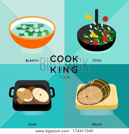 4 of cooking process with different cooking techniques.