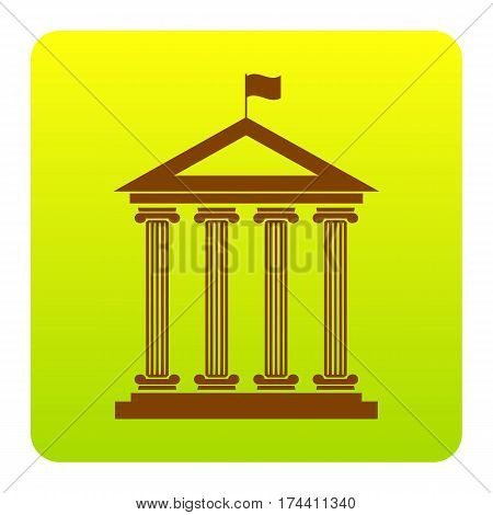 Historical building with flag. Vector. Brown icon at green-yellow gradient square with rounded corners on white background. Isolated.