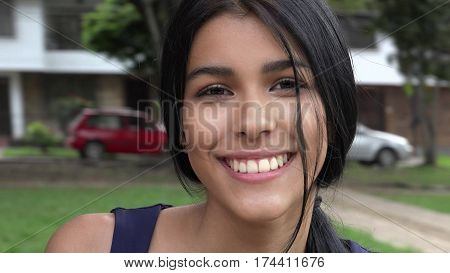 Happy and Smiling Teen Girl In Suburbs