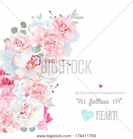 Cute floral crescent shape vector frame with peony, orchid, hydrangea, rose, camellia, blue berry, eucalyptus. Pink and white wedding flowers. All elements are isolated and editable