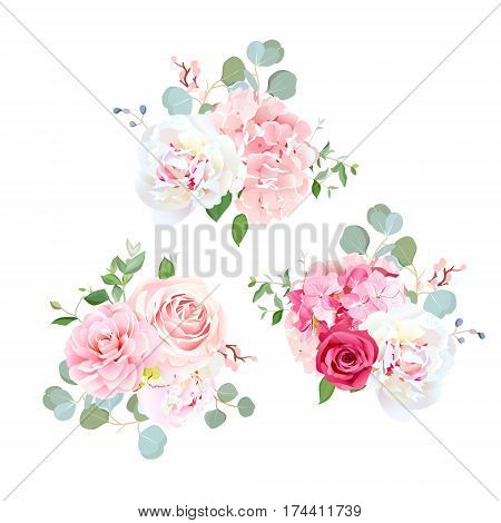 Bouquets of rose, peony, camellia, hydrangea and eucalyptus. Elegant vector floral design. Pink, white and red wedding flowers and delicate leaves. All elements are isolated and editable.