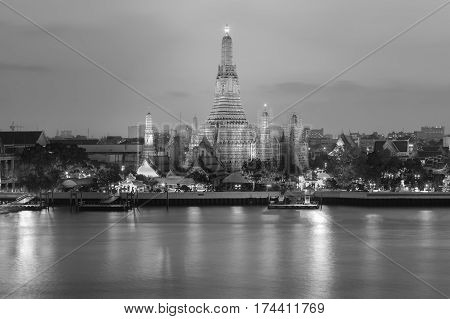 Black and White Arun temple river front night view Bangkok Thailand Landmark