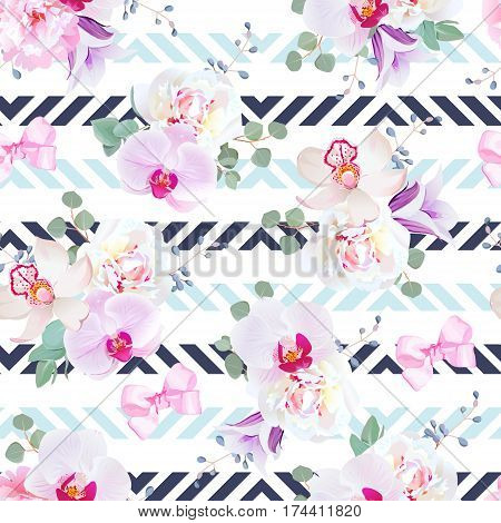 Funky seamless vector pattern in purple, pink and white tones. Peony, violet campanula, orchid, eucalyptus. Seamless vector print with navy blue geometric ornament.