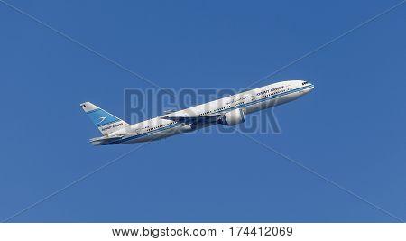 LONDON, UK - CIRCA 2015: Kuwait Airways Passenger Aircraft,  taking off