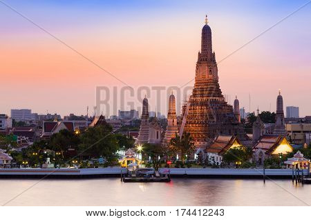 Beautiful sky over Arun temple riverfront Bangkok Thailand landmark