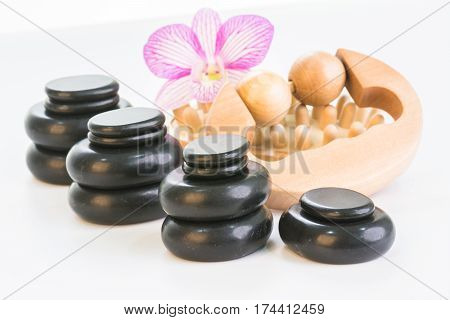 Spa with hot stones, massage roller and cellulite massager