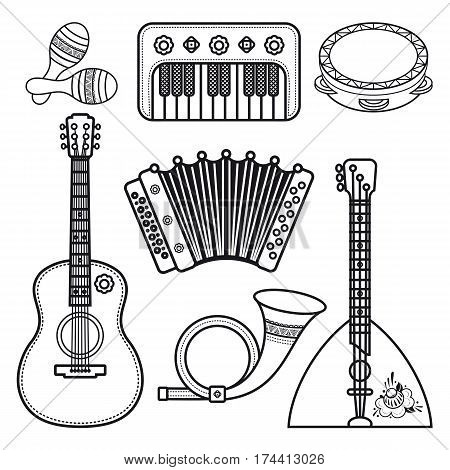 Musical instruments. Children's toys. Set. Maracas, accordion, balalaika, guitar, post horn, tambourine.