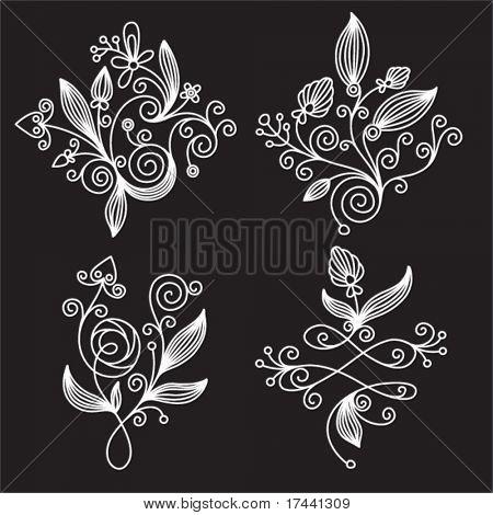 set black-and-white elements of floral design