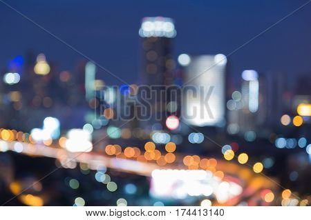 Abstract blur lights city downtown nigth view abstract background