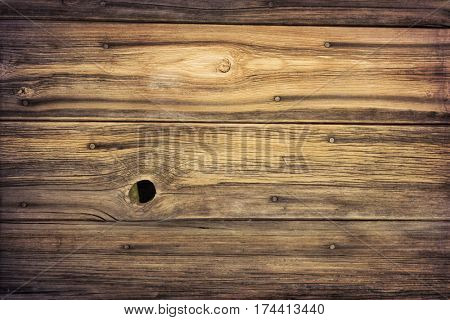 weathered grained wood of old barn wall with nails, staple and knothole