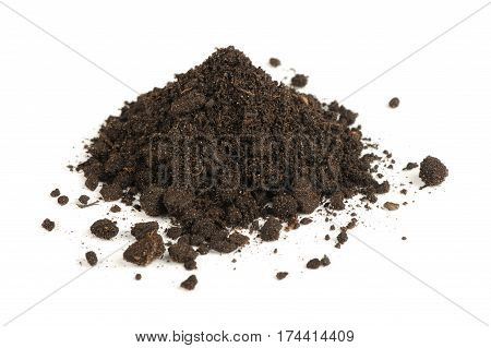 A pile of soil isolated on a white background