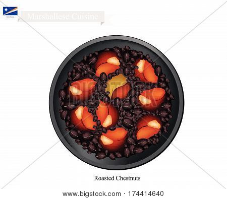 Marshallese Cuisine Illustration of Traditional Roasting Chestnuts. A Popular Dish of Marshall Islands.