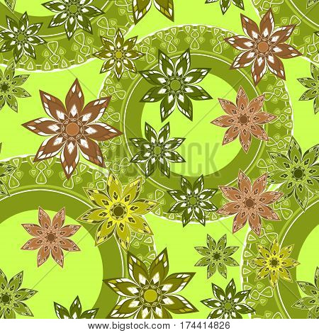 Seamless floral pattern. Green backgrouns. Vector illustration