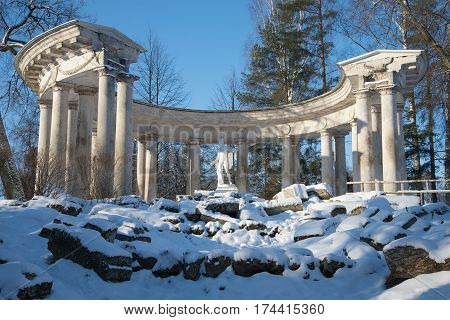 Colonnade of Apollo close-up. February day. Pavlovsk park, Russia