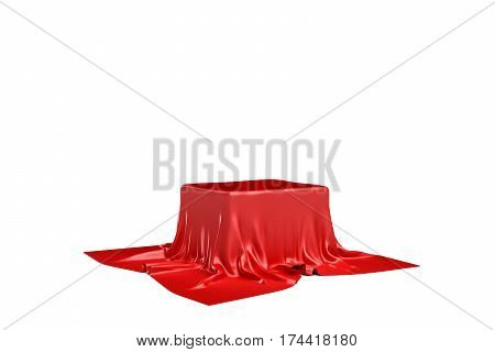 3d rendering of a piece of red satin clothes is likely to hide a box isolated on white background. 3d modelling. Art object. Design element