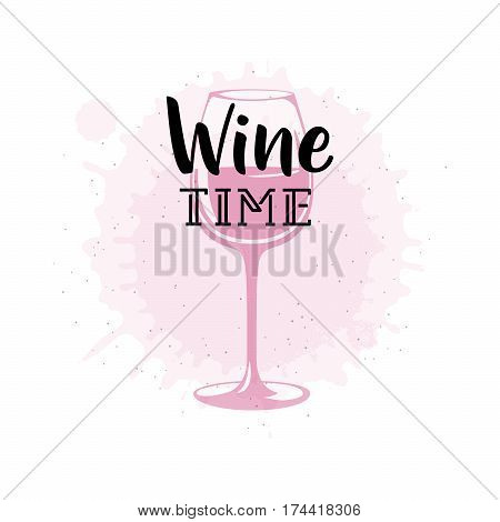 Vector illustration of drink related typographic quote. Wine old logo design. Alcohol background printable. Vintage kitchen print element with wineglass on grunge spot background