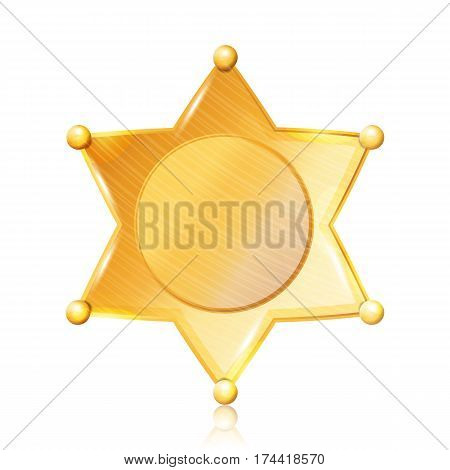 Sheriff Badge Star Vector. Gold Symbol. Municipal City Law Enforcement Department. Isolated On White