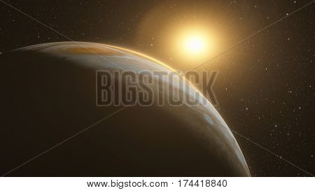 jupiter with beautiful sunrise from space with stars. Elements of this image furnished by NASA