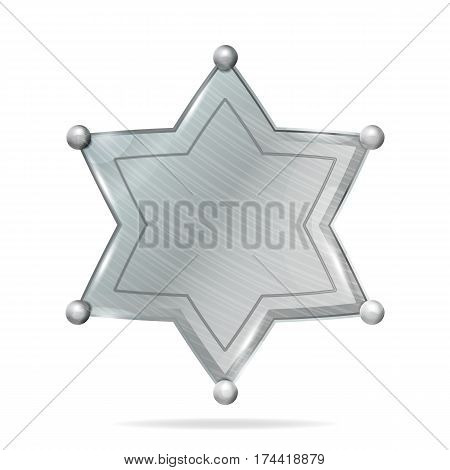 Sheriff Badge Star Vector. Realistic Blank Of Metal Sheriff Badge Star. Empty Blank