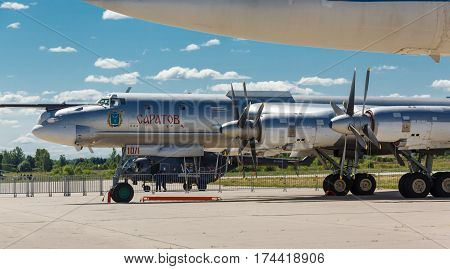 KUBINKA, RUSSIA - JUN 18, 2015: The Tupolev Tu-95 is a Russian four-engine turboprop-powered strategic bomber and missile platform at the International military-technical forum ARMY-2015 at the Kubinka air base
