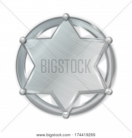 Sheriff Badge Star Vector. Realistic Blank Metal Sheriff Badge Star.