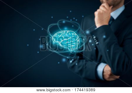 Brain representing artificial intelligence (AI), machine deep learning, creativity, headhunter innovation and intellectual property rights.