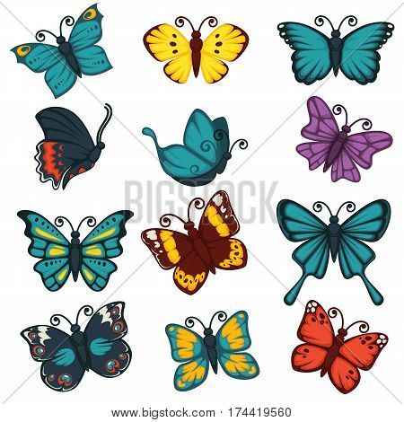 Butterflies icons. Exotic species of swallowtail, tropical monarch and hawk-moth, machaon or luna butterfly. Vector isolated design decoration elements set