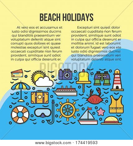 Beach summer holidays or sea cruise travel vacations program poster. Vector safety information infographics template for yachting, scuba diving or swimming