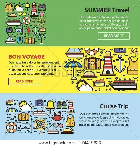 Summer travel, sea cruise and holiday beach vacations agency or company web banners templates set. Vector symbols of yacht anchor, lighthouse and sailboat trip, scuba diving and sun ocean weather