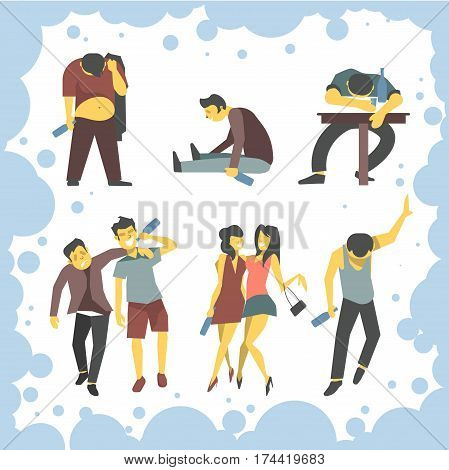 Drunk man and woman or boozy drunken friends walking tipsy screwed, laughing happy and talking after party with alcohol drink bottle in hands. Vector illustration drunkenness concept