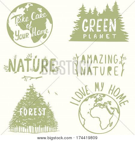 Concept set with beautiful nature logos. Vector illustration