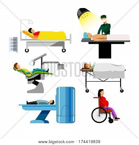 Hospital patients icons. Dentist chair, surgeon operation table, therapist mri or tomography scan, wheelchair for pregnant and emergency room. Vector medical icons set for infographics flat elements