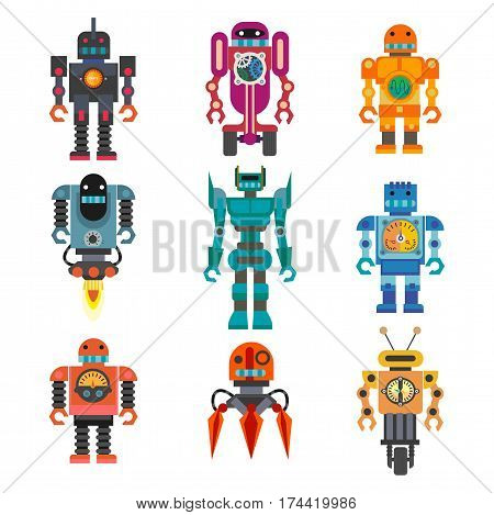 Robots and transformer androids retro cartoon toys character. Future artificial intelligence machine cyborg or cybernetics technology. Vector flat icons set