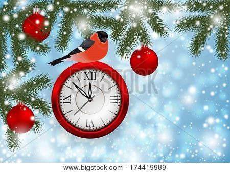 Illustration of Christmas or New Year decoration with bullfinch bird clock balls fir tree branches and snowflake background