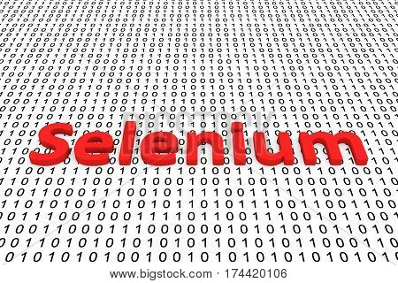 selenium in the form of binary code, 3D illustration