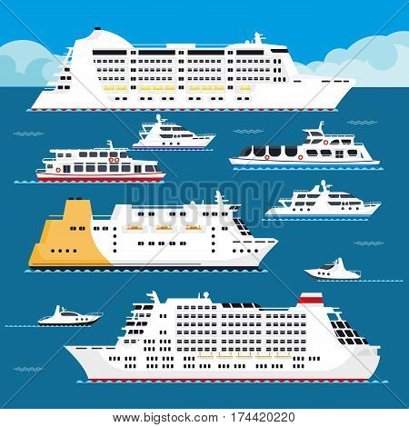 Sea cruise liners types. Passenger ship or boat sailing in ocean on waves. Vector flat summer vacation or holiday marine travel trip illustration