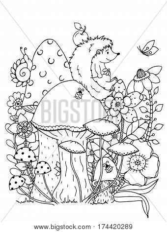 Vector illustration zentangl. Doodle hedgehog Coloring page Anti stress for adults. Black and white.