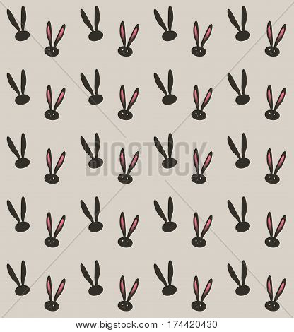 Easter Bunny pattern. Vector illustration. Fashion, textile. Rabbit Print. Rabbit ears pattern. Bunny ears fabric texture. Spring Holiday Abstract background. Vintage