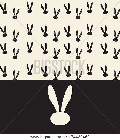 Mid Autumn Chinese festival invitation background template. Rabbit pattern, Bunny ears Background. Mid autumn festival design. Chinese holiday full moon festival decoration. Brochure, album cover layout.
