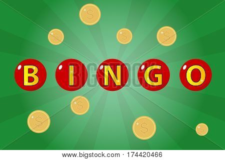 Bingo, Casino Jackpot. Flat design, vector illustration, vector.