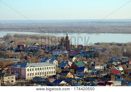 Outskirts of Samara City with church and Volga River from the view point of Railway station