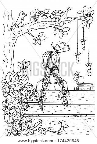 Vector illustration of handmade work, zentangl girl sitting on the bench. Doodle drawing. Coloring page Anti stress for adults. Black and white.