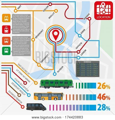 Public transport routes and stations infographics template. Municipal passenger trasportation statistics of bus, tram, subway metro train, taxi and trolleybus. Vector flat design