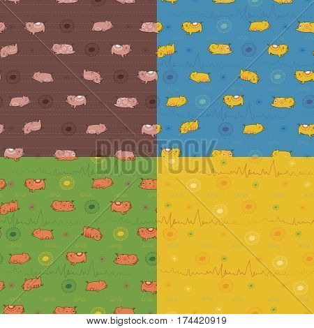 Set of seamless patterns with funny pigs. Indian decor. Brown pattern with pink pigs. Blue pattern with yellow pigs. Green pattern with red pigs. Illustration.