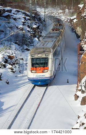 VYBORG, RUSSIA - FEBRUARY 24, 2017: A high-speed electric train
