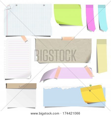 Stickers and sticky notes, pins and memo paper sheets with peeled corners on adhesive tape. Vector isolated icons templates set