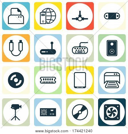 Set Of 16 Computer Hardware Icons. Includes Router, Cd-Rom, Dynamic Memory And Other Symbols. Beautiful Design Elements.