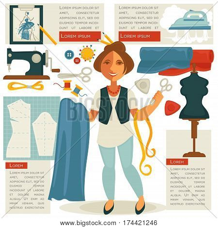 Tailor or dressmaker designer atelier woman in dress tailoring salon with scissors and tape measure in hand. Vector flat dummy mannequin for cloth fitting, threads, needles and sewing machine