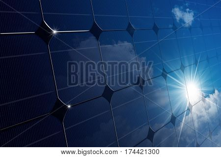 3D illustration of a close-up of a Solar Panel (photovoltaic panel) with the reflection of a blue sky with clouds and sun rays